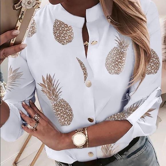 Tops - Pineapple Print Blouse